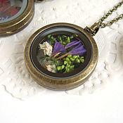 Украшения handmade. Livemaster - original item Transparent Pendant Flowers Moss Forest Pendant in Bronze Living Memory Locket. Handmade.