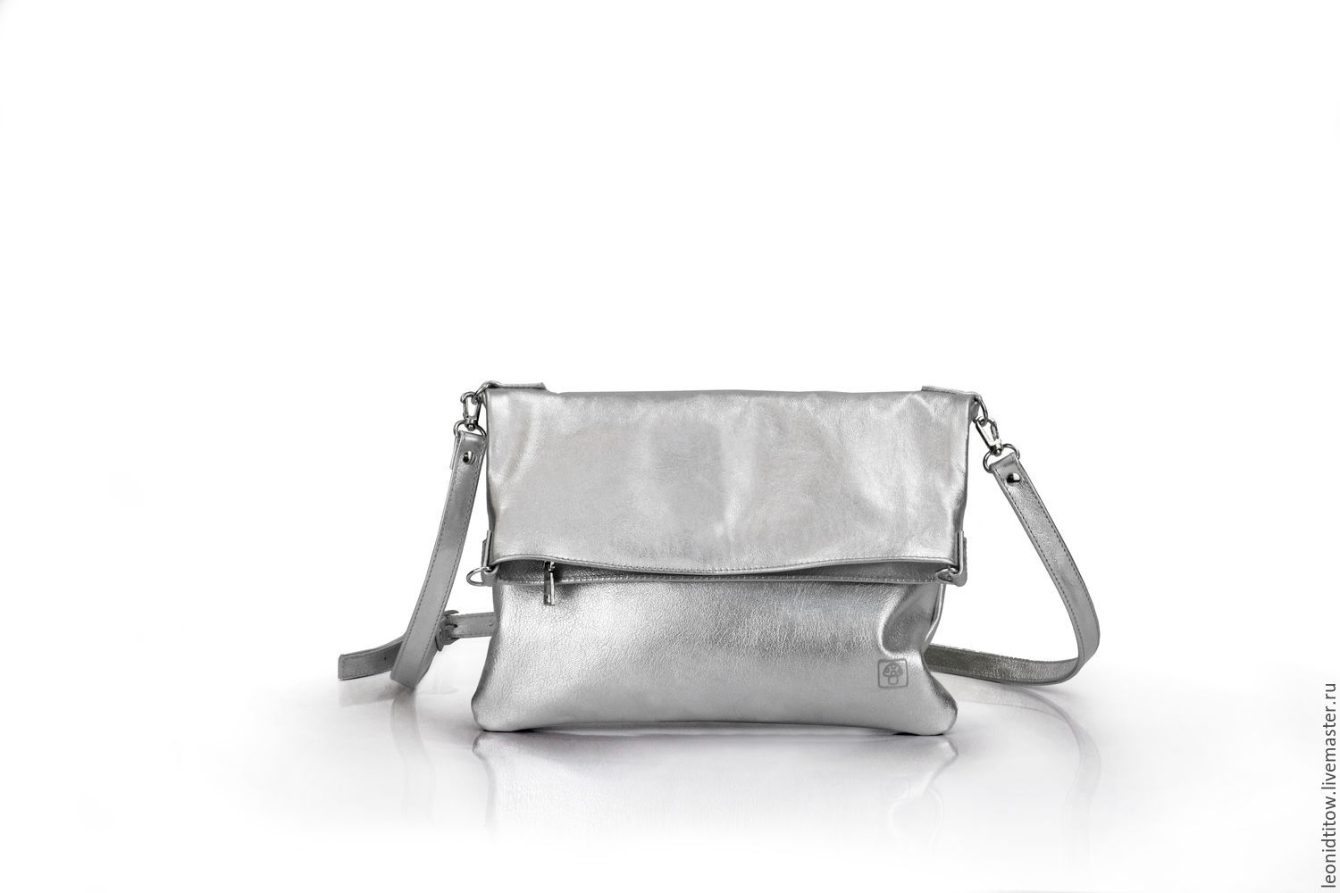 Silver Leather Crossbody Bag, Clutches, St. Petersburg,  Фото №1