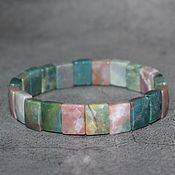 Украшения handmade. Livemaster - original item Natural moss agate cut bracelet. Handmade.