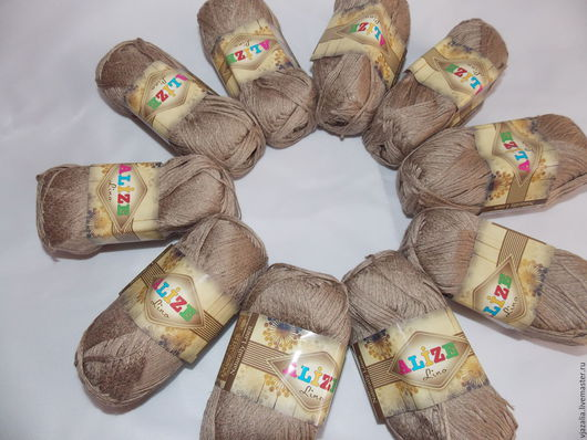 Вязание ручной работы. Ярмарка Мастеров - ручная работа. Купить Ленточная пряжа - вискоза со льном, цвет темная солома. Handmade.