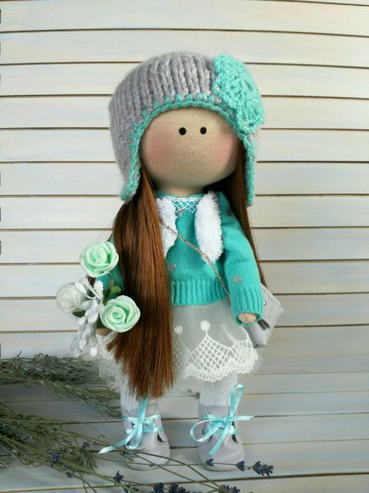 Коллекционные куклы ручной работы. Ярмарка Мастеров - ручная работа. Купить Интерьерная текстильная кукла. Бирюзовая кукла. Подарок к Новому году.. Handmade.