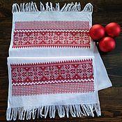 """Русский стиль handmade. Livemaster - original item Рушник """"Алатырь"""" с обережной вышивкой крестом. Handmade."""