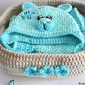Вязаный плед пинетки  шапочка для малышей