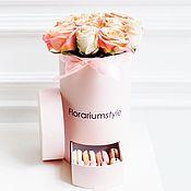 """Цветы и флористика ручной работы. Ярмарка Мастеров - ручная работа Букет из роз в шляпной коробке """"Персик"""". Handmade."""