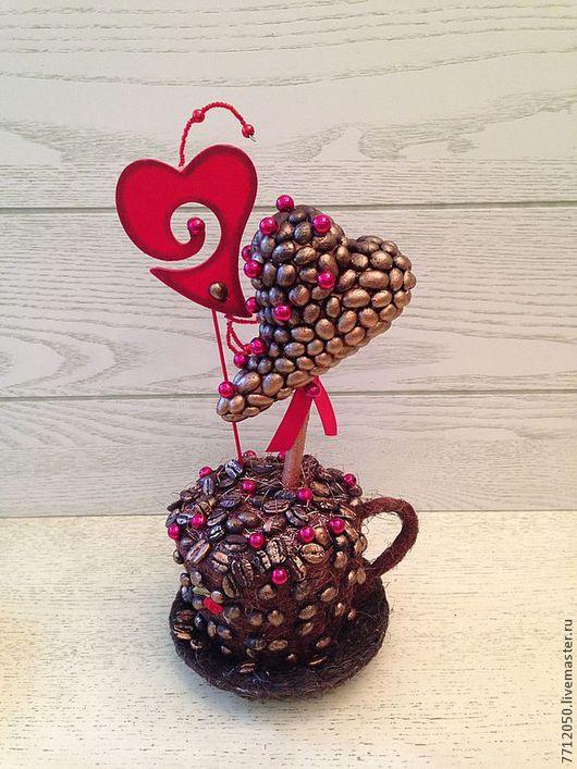 подарок ко дню Святого Валентина топиарий из кофе необычный подарок оригинальный подарок день Святого Валентина День всех влюбленных кофе коричневый золотой красный
