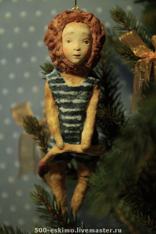 Новый год 2017 ручной работы. Ярмарка Мастеров - ручная работа. Купить Лев ёлочная игрушка из ваты. Handmade. Лев