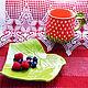 Чайная пара ягодка клубника, красная чашка клубничка. Чайные пары. CeramicsMaria Керамика и картины. Ярмарка Мастеров.  Фото №6