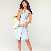 Одежда handmade. Livemaster - original item Blue linen vest. Handmade.