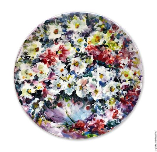Керамическая тарелка `Ромашковый букет`. Керамика ручной работы. Ярмарка мастеров.