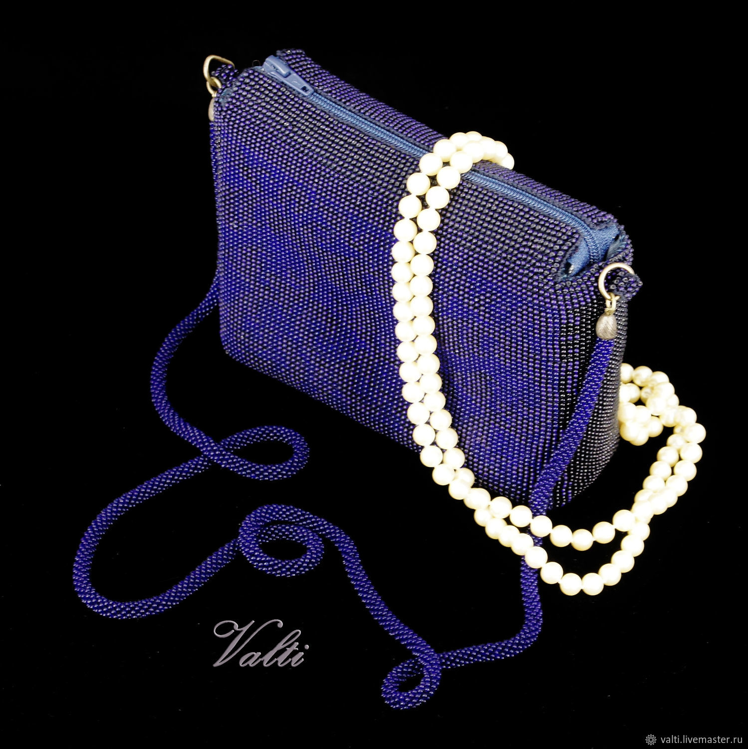 Handbag blue zipper, Classic Bag, Moscow,  Фото №1