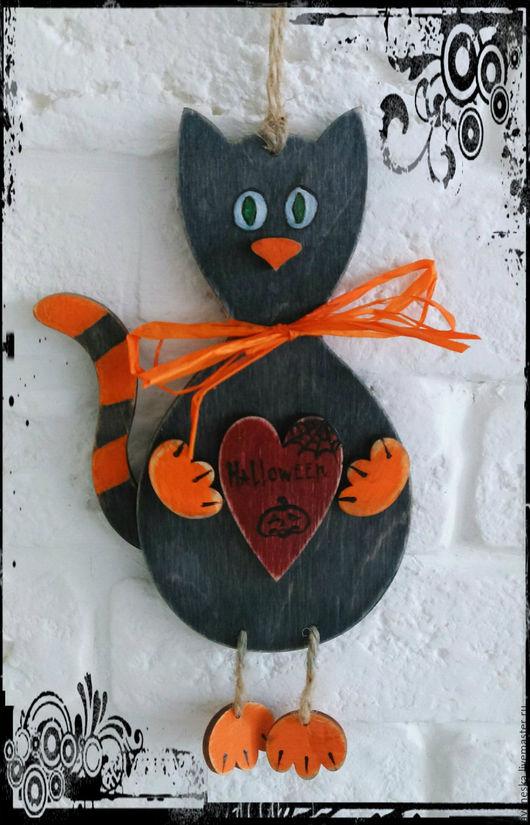 """Подарки на Хэллоуин ручной работы. Ярмарка Мастеров - ручная работа. Купить Подвеска интерьерная """"Хеллоуинский кот"""""""". Handmade. Черный, подвеска"""