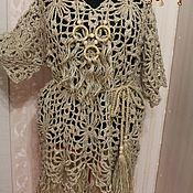 Одежда ручной работы. Ярмарка Мастеров - ручная работа Платье -балахон с кистями.вязаное из джута.. Handmade.