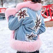 Куртки ручной работы. Ярмарка Мастеров - ручная работа Джинсовка с мехом финского песца и цветами. Handmade.