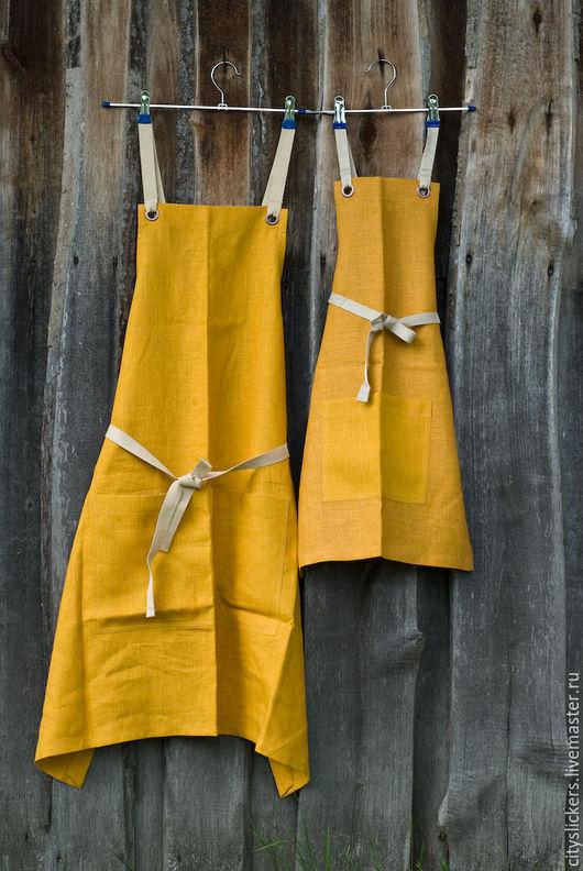 Кухня ручной работы. Ярмарка Мастеров - ручная работа. Купить Комплект фартуков из льна (Elegant Mustard). Handmade. Фартук