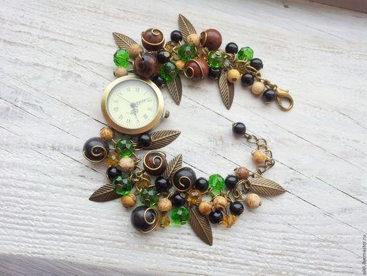 """Часы ручной работы. Ярмарка Мастеров - ручная работа. Купить Часы ручной работы """"Лесная нимфа"""". Handmade. Зеленый"""