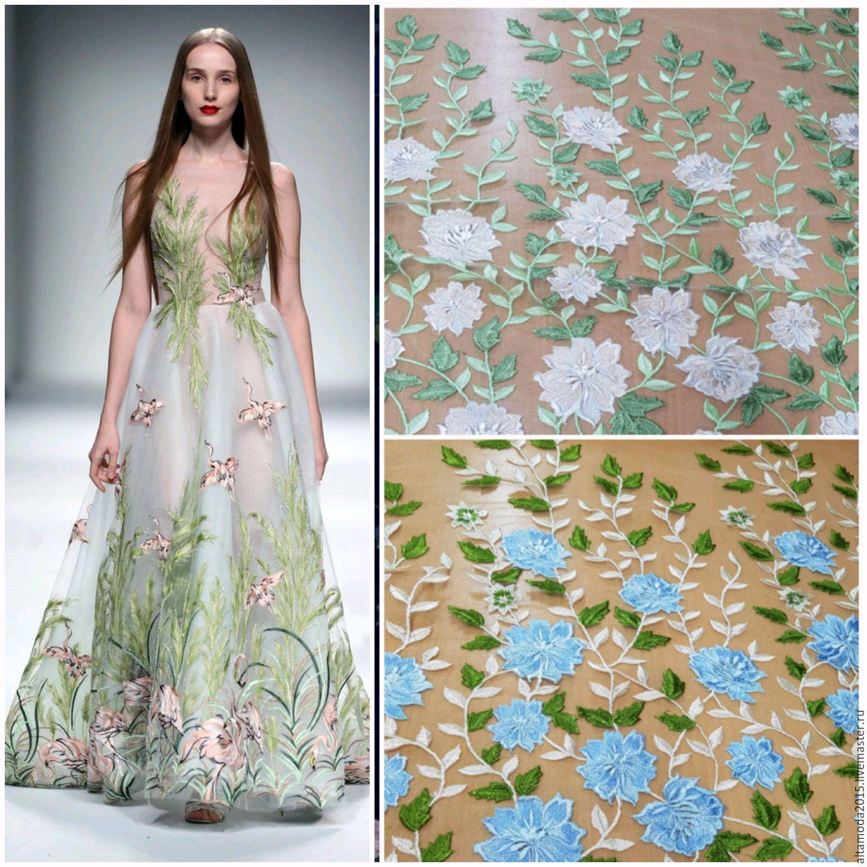 Вышивка цветов на ткани 189