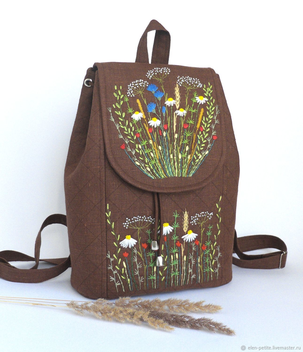 Linen backpack with hand embroidery ' The smell of summer', Backpacks, Nizhnekamsk,  Фото №1