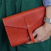 Канцелярские товары handmade. Livemaster - original item Red leather A5 notebook with rings genuine leather Crazy Horse. Handmade.