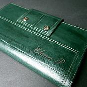 Сумки и аксессуары handmade. Livemaster - original item Wallet leather large. Aged Emerald. Handmade.