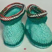 Работы для детей, ручной работы. Ярмарка Мастеров - ручная работа Пинетки с разноцветными узорами из натуральной шерсти ручной работы. Handmade.
