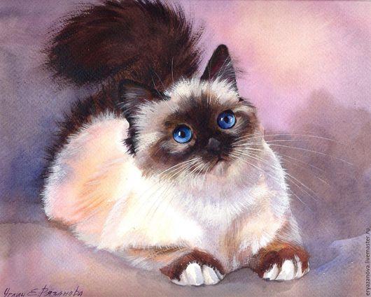 Животные ручной работы. Ярмарка Мастеров - ручная работа. Купить Картина акварелью Сиамские кошки. Handmade. Комбинированный, картина акварелью