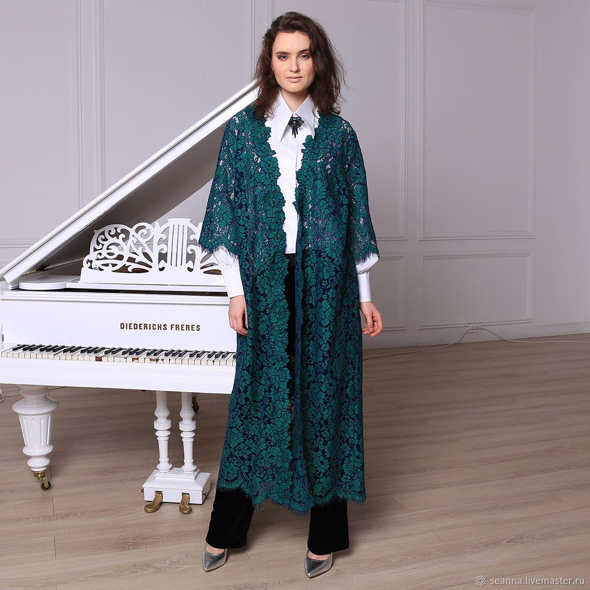Верхняя одежда ручной работы. Ярмарка Мастеров - ручная работа. Купить Пальто-накидка нарядная Изумрудно-синее кружево с ручной ажурной. Handmade.