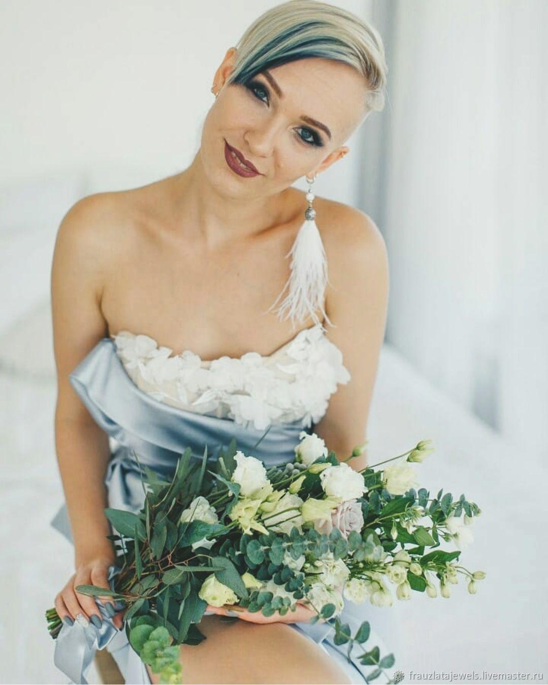 Белоснежные Свадебные Серьги Перья Шамбала, Серьги, Москва, Фото №1