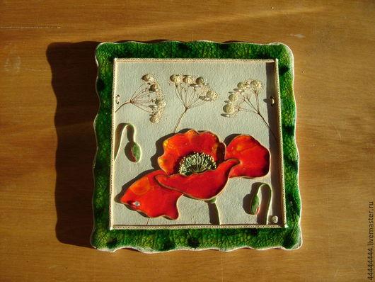 Картины цветов ручной работы. Ярмарка Мастеров - ручная работа. Купить панно Мак керамика. Handmade. Панно, подарок, мак