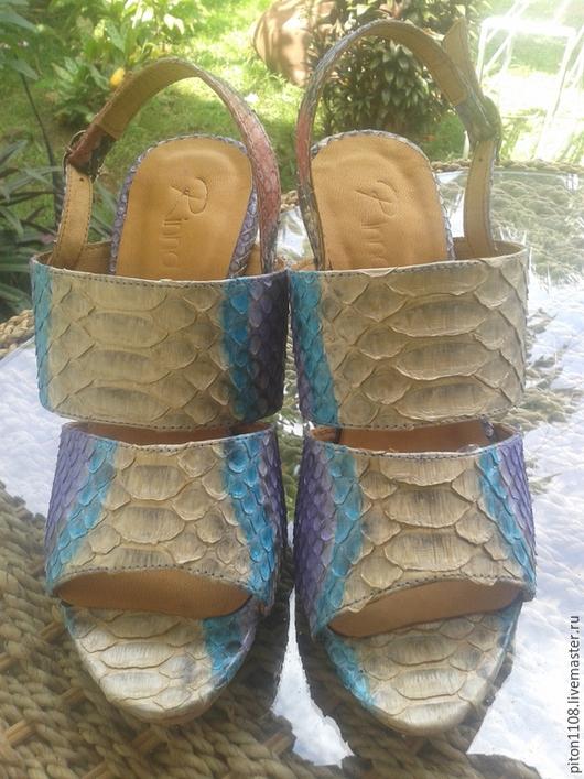 Обувь ручной работы. Ярмарка Мастеров - ручная работа. Купить Босоножки из кожи питона. Handmade. Туфли, туфли из питона