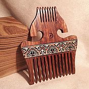 Сувениры и подарки handmade. Livemaster - original item Wooden comb for hair markuetry inlay carving. Handmade.