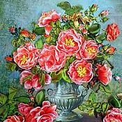 Картины и панно ручной работы. Ярмарка Мастеров - ручная работа Розовые розы.Вышивка лентами.. Handmade.