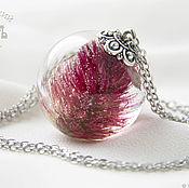 Украшения handmade. Livemaster - original item Transparent pendant ball with a real pink flower is made of epoxy resin. Handmade.