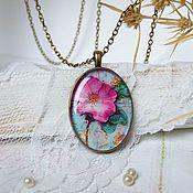 Украшения handmade. Livemaster - original item Vintage Oval Pendant with chain Pink Flower Magnolia. Handmade.