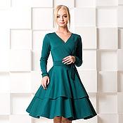 Одежда ручной работы. Ярмарка Мастеров - ручная работа Тёплое платье , на запах , с волшебной юбкой). Handmade.