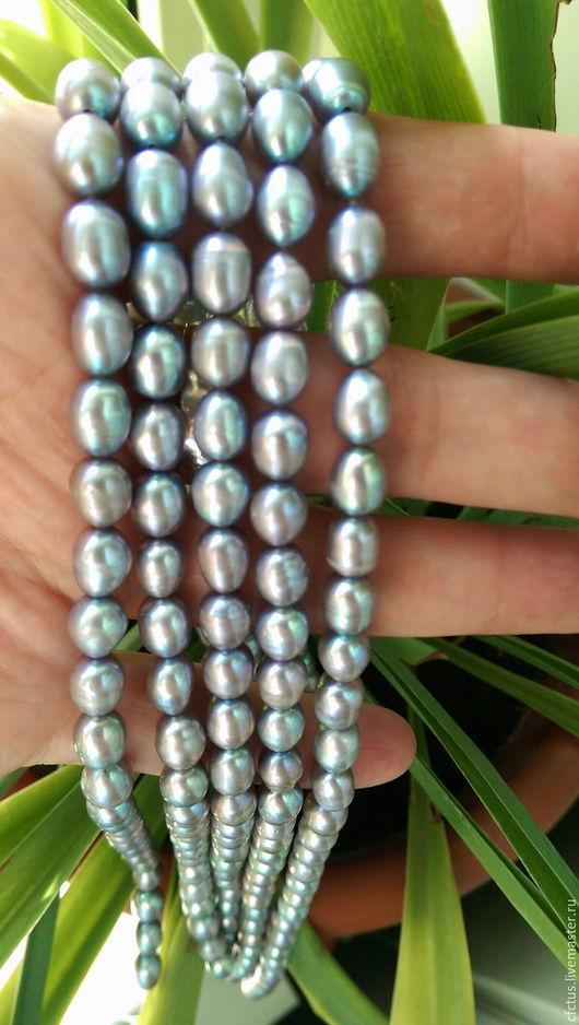 Для украшений ручной работы. Ярмарка Мастеров - ручная работа. Купить Жемчуг нат. 8 х 6,5 мм овальный серый.. Handmade.