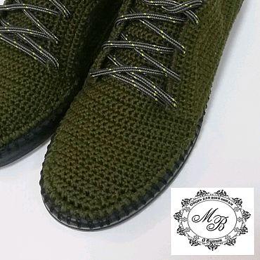 Обувь ручной работы. Ярмарка Мастеров - ручная работа Вязаные туфли. Обувь вязаная. Цвет хаки.. Handmade.