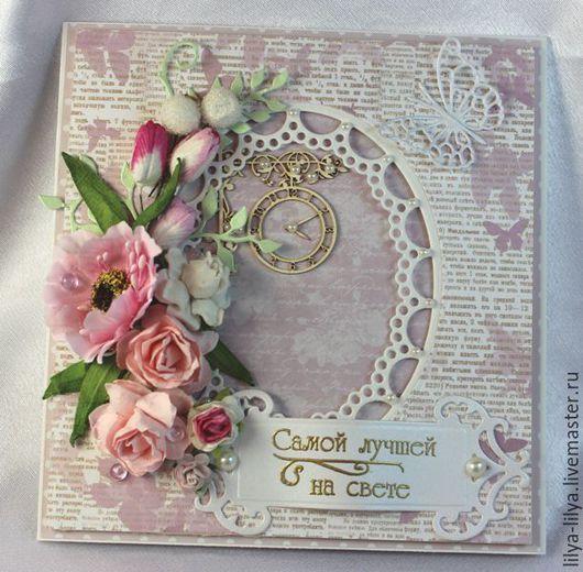 """Открытки для женщин, ручной работы. Ярмарка Мастеров - ручная работа. Купить Открытка """"нежность цветов"""". Handmade. Бледно-розовый, открытка"""