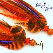 Украшения handmade. Livemaster - original item Orange-red feather earrings. Handmade.