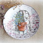 Картины и панно ручной работы. Ярмарка Мастеров - ручная работа декоративная тарелка Незабудка. Handmade.
