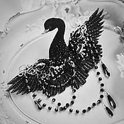 Brooches handmade. Livemaster - original item Brooch bird-Black Swan. Handmade.