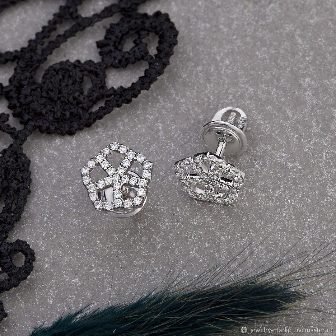 Stylish poussette earrings with natural white gold diamonds 585, Stud earrings, Ekaterinburg,  Фото №1