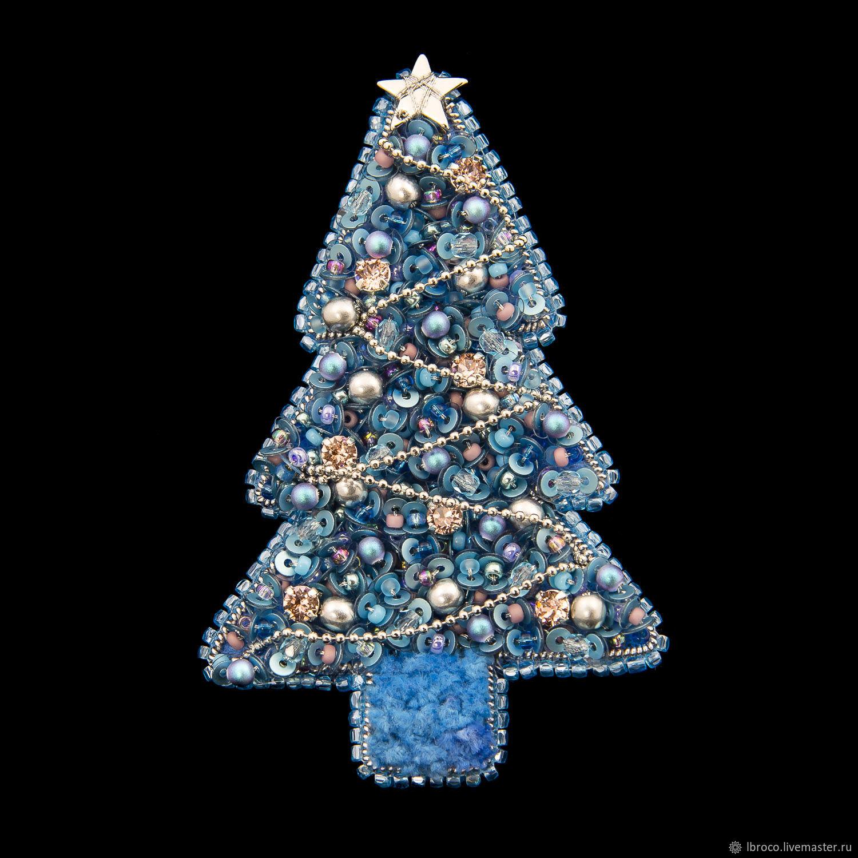 Броши ручной работы. Ярмарка Мастеров - ручная работа. Купить Брошь Елка голубая ( брошь, ель, елка,голубой, новый год). Handmade.