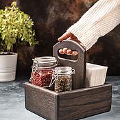 Для дома и интерьера handmade. Livemaster - original item Stand for spices and napkins 125 mm made of dark oak (understated). Handmade.