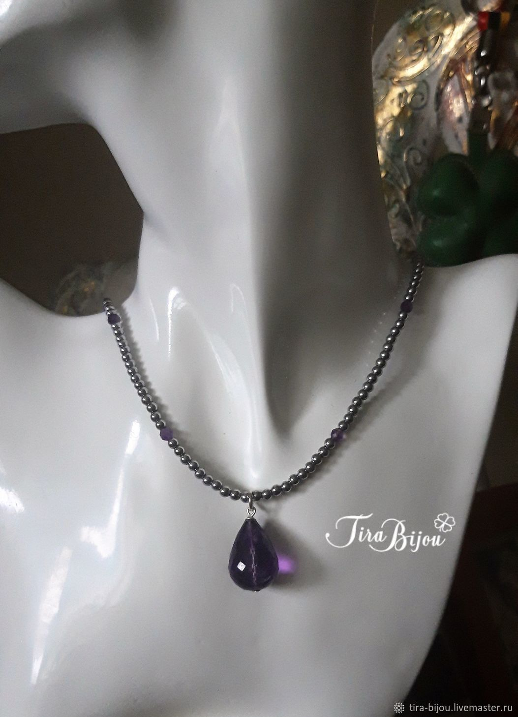 Necklace with amethyst pendant, Necklace, Moscow,  Фото №1