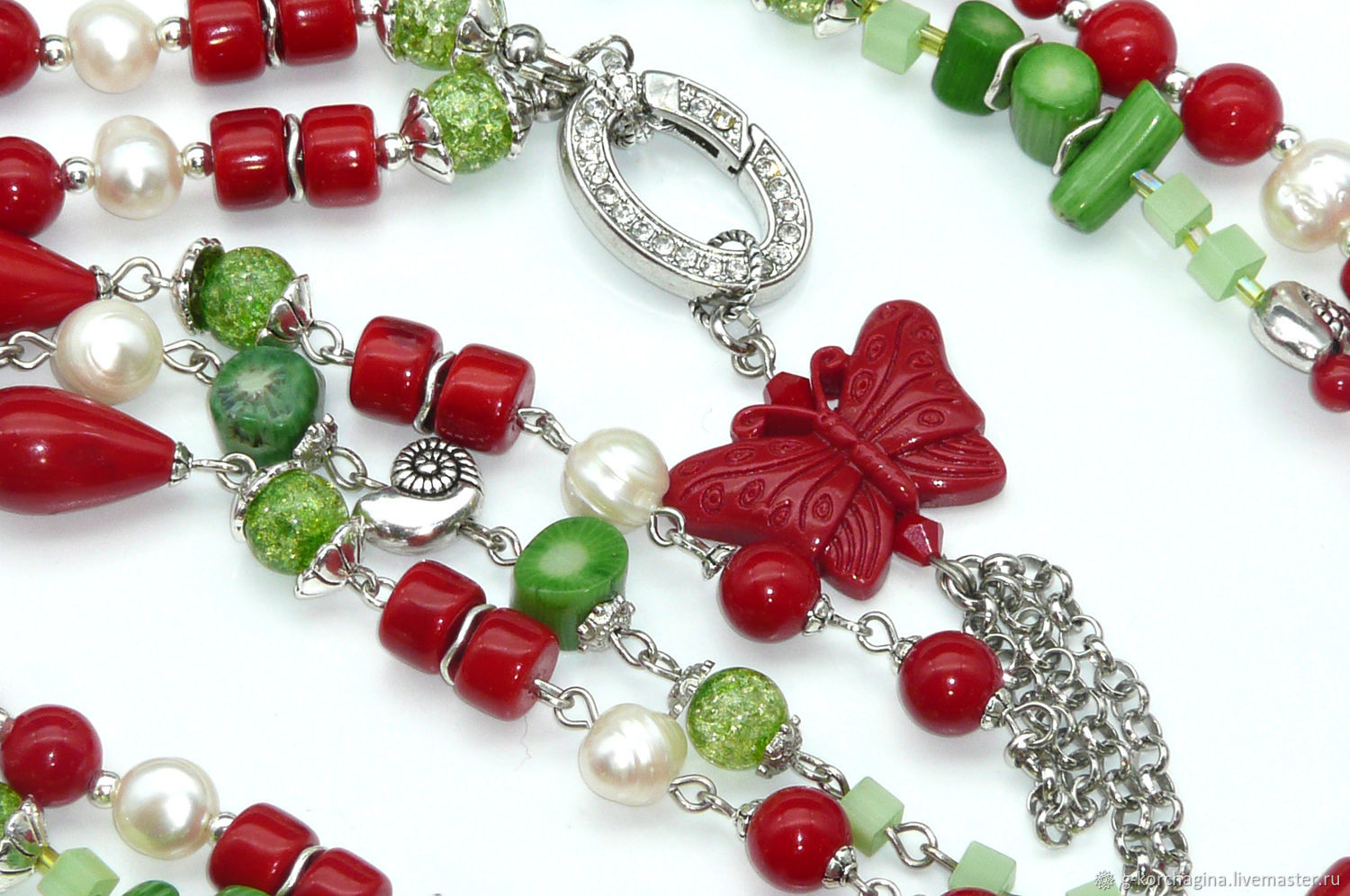 beads: With pendant made of coral, pearl and agate 'the Joy of summer', Beads2, Voronezh,  Фото №1