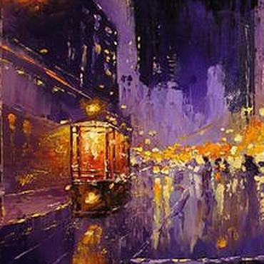 """Картины и панно ручной работы. Ярмарка Мастеров - ручная работа """"ОГНИ НОЧИ"""" - Картина, ночной город, холст масло. Handmade."""