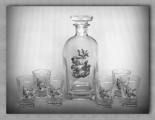 """Набор для водки 307""""Утиная охота"""". Штоф - хрустальное стекло. Барельеф - сплав олова"""