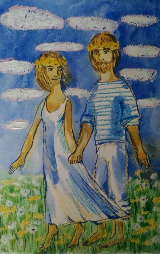 """Люди, ручной работы. Ярмарка Мастеров - ручная работа. Купить Акварель """"Мечта.Май"""". Handmade. Влюбленные, влюбленная пара, нежность"""