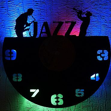 For home and interior handmade. Livemaster - original item Wall clock with backlight from Jazz vinyl record. Handmade.