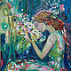 Фантазийные сюжеты ручной работы. Ярмарка Мастеров - ручная работа. Купить Девушка с цветами. Handmade. Морская волна, цветы, девушка
